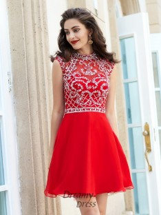 A-Line High Neck Sleeveless Short Chiffon Dress with Beading