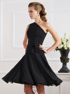 A-Linie/Princess-Linie One-Shoulder-Träger Knielang Chiffon Cocktailkleider