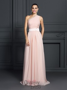 A-Linie/Princess-Linie One-Shoulder-Träger Sweep/Pinsel zug Chiffon Kleider