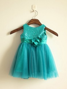 A-line/Princess Scoop Floor-length Tulle Flower Girl Dresses with Sequins
